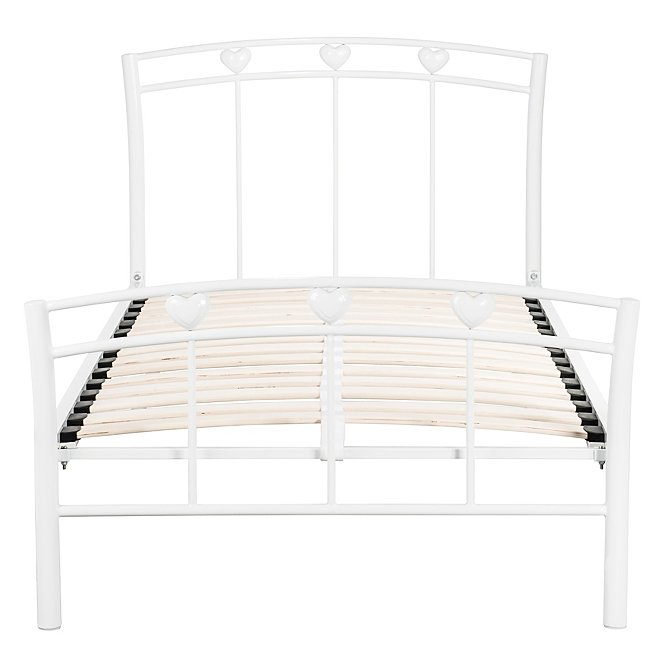 Excellent Heart Metal Single Bed White Onthecornerstone Fun Painted Chair Ideas Images Onthecornerstoneorg