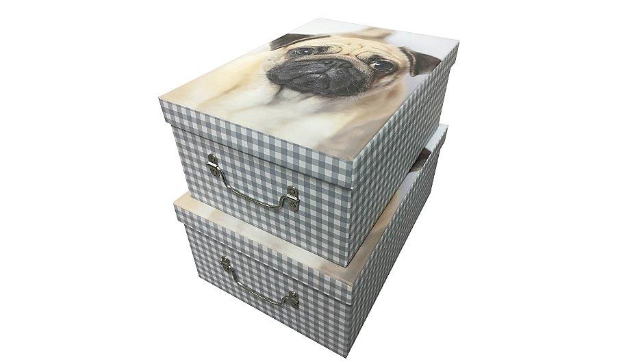 George Home Set Of 2 Pug Storage Boxes