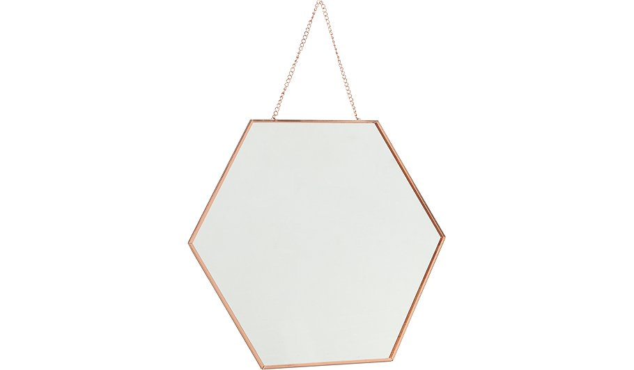Hexagonal hanging mirror home garden george for Long hanging mirror