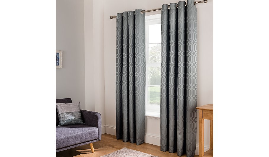 Grey Jacquard Trellis Geo Curtains