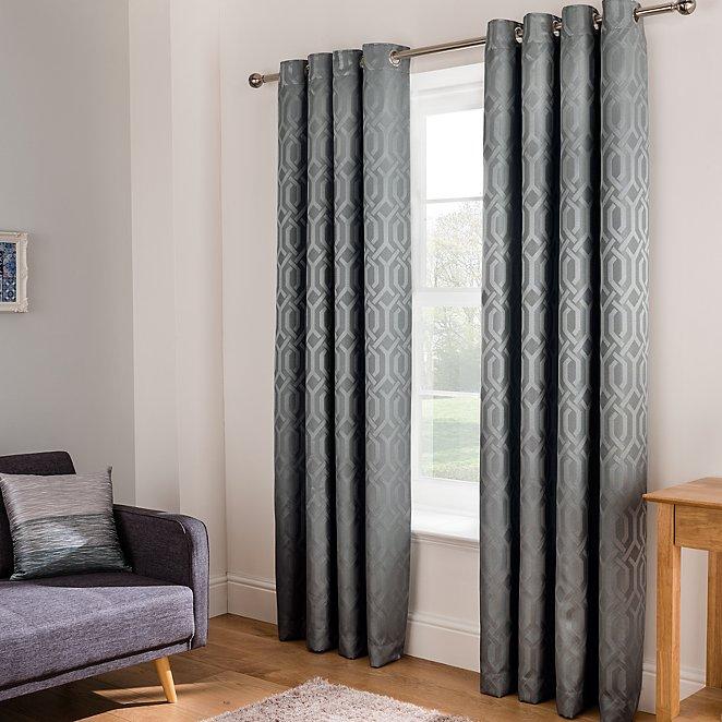 Grey Jacquard Trellis Geo Curtains