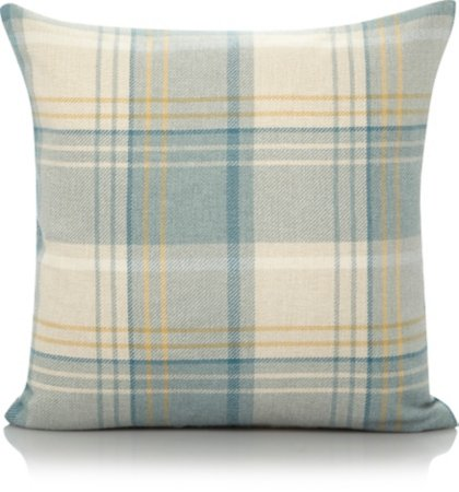 Teal Woven Checked Cushion - Various Sizes