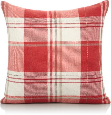 Red Woven Checked Cushion - Various Sizes