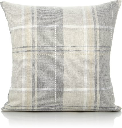 Grey Woven Checked Cushion - Various Sizes