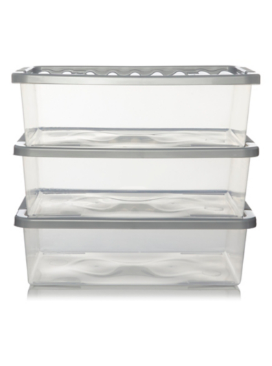George Home Silver Underbed Storage Boxes Lids Pack of 3 Home