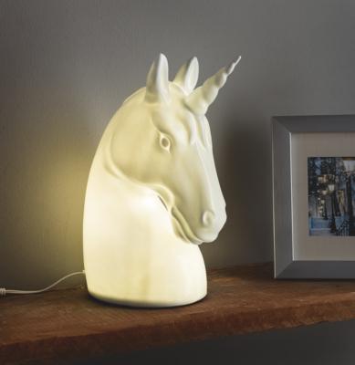 White Ceramic Unicorn Lamp