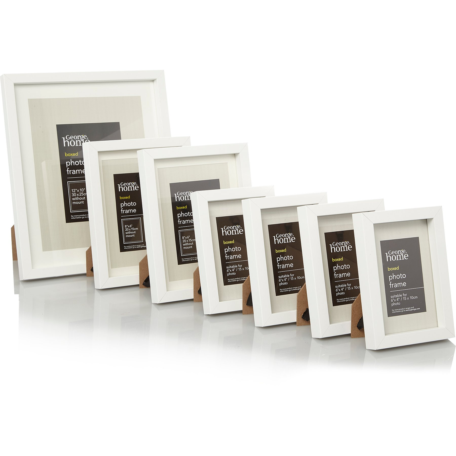Wooden White Boxed Photo Frame -7 Pack