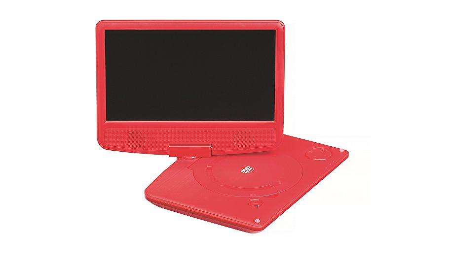 polaroid 9 inch swivel neck red portable dvd player home garden george. Black Bedroom Furniture Sets. Home Design Ideas