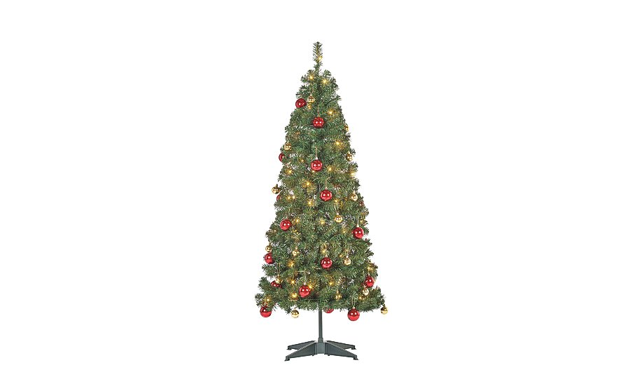 5ft pop up pre lit led christmas tree red and gold baubles - Pop Up Christmas Tree With Lights