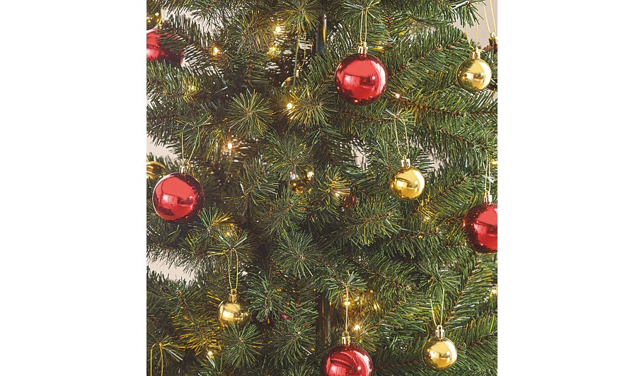 5ft pop up pre lit led christmas tree red and gold baubles - Pop Up Christmas Tree