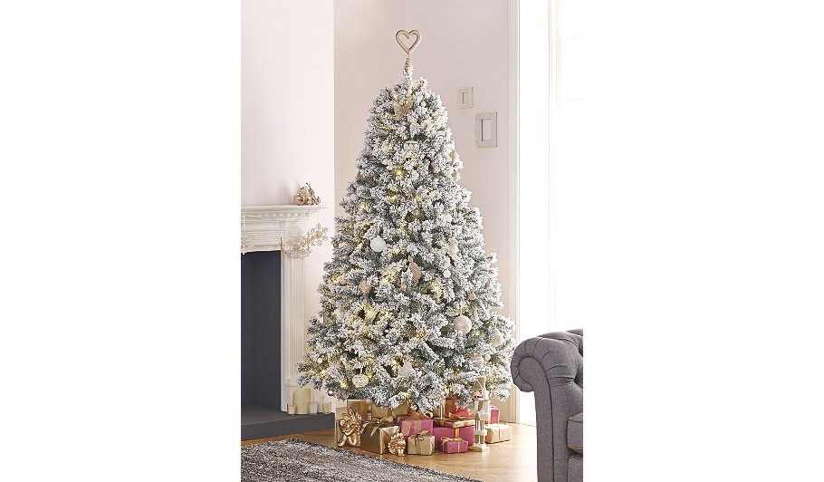 7ft snowy pre lit christmas tree - Pre Lighted Christmas Trees