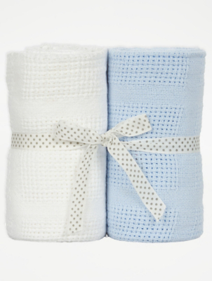 Blue and White Cellular Baby Blanket 2 Pack