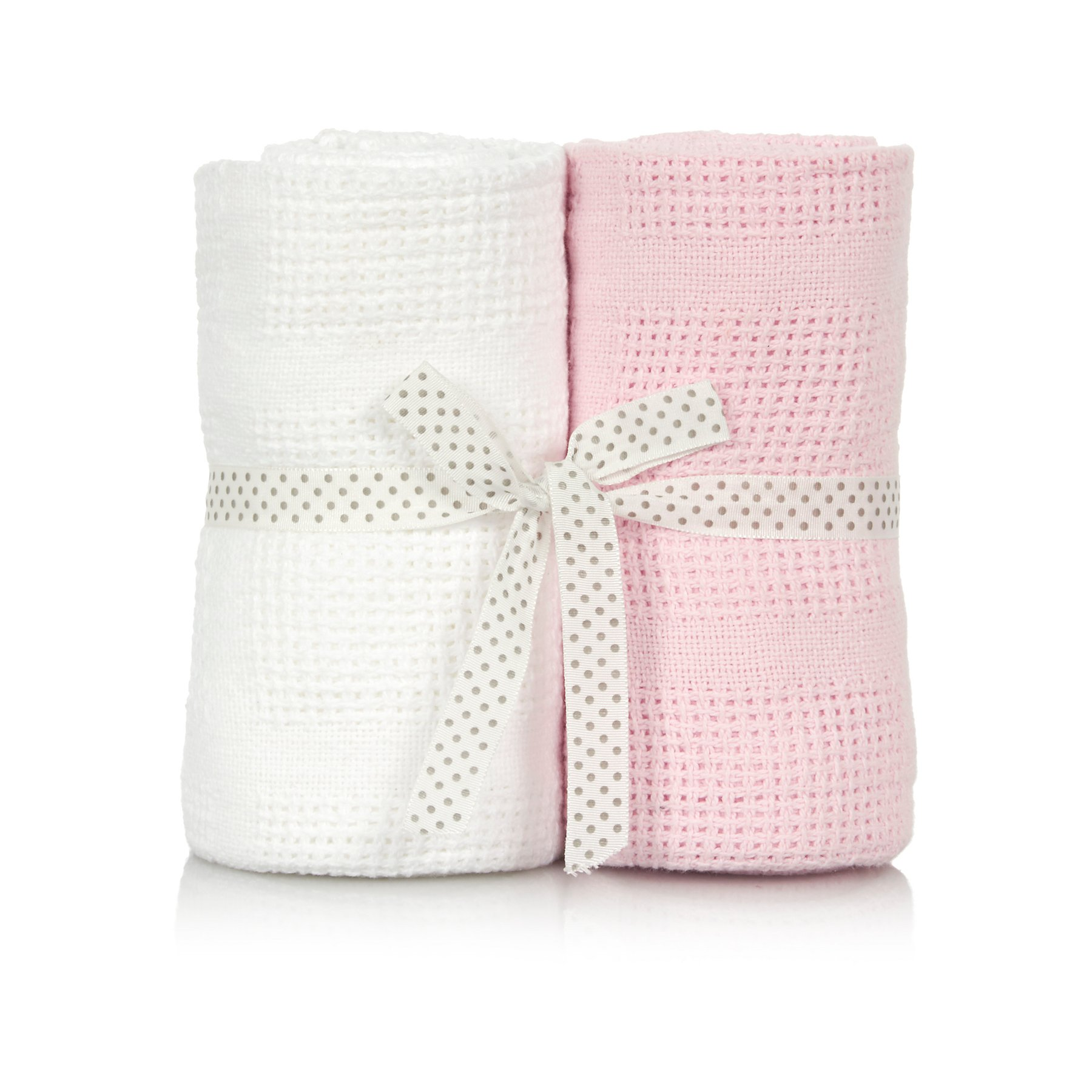 Pink And White Cellular Baby Blanket