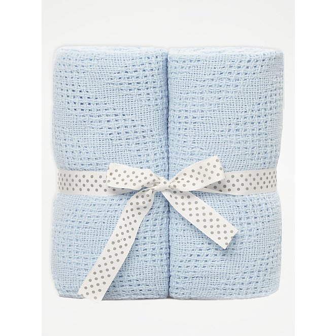 Blue Cellular Baby Shawl 2 Pack