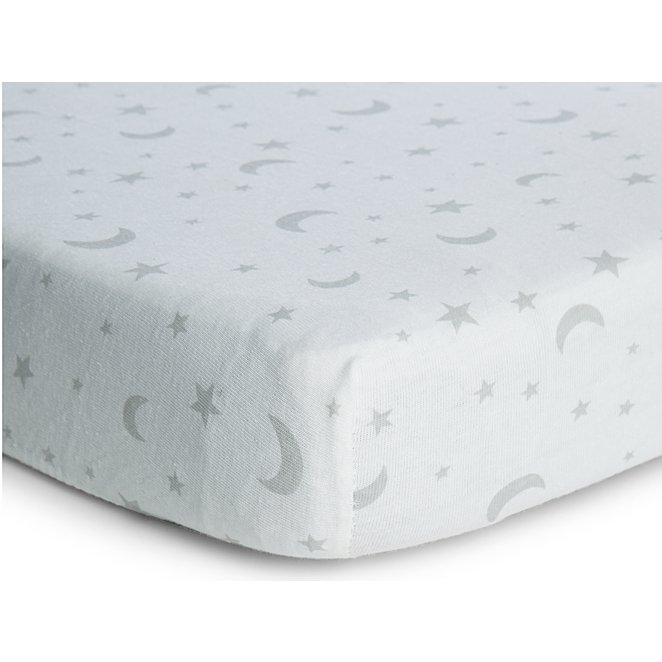 Kids Moon And Stars Fitted Sheets 2, Cot Bedding Grey And White Stars