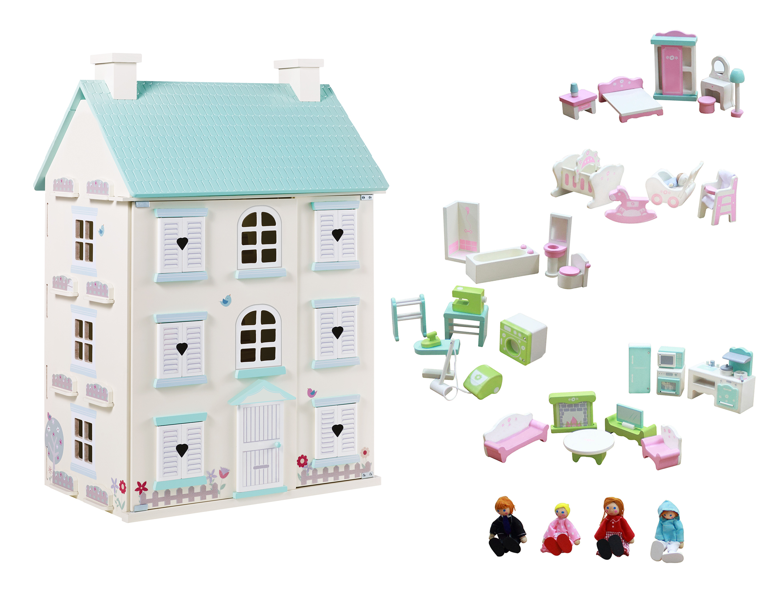 George Home Wooden Light Up Dolls House Large Furniture Set Toys