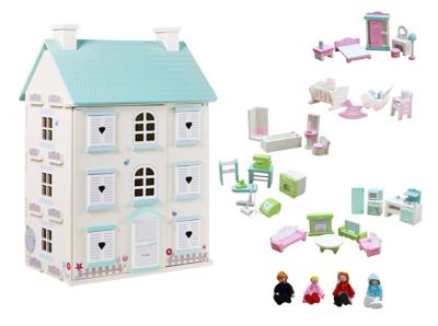 George Home Wooden Light Up Dolls House U0026 Large Furniture Set | Toys U0026  Character | George