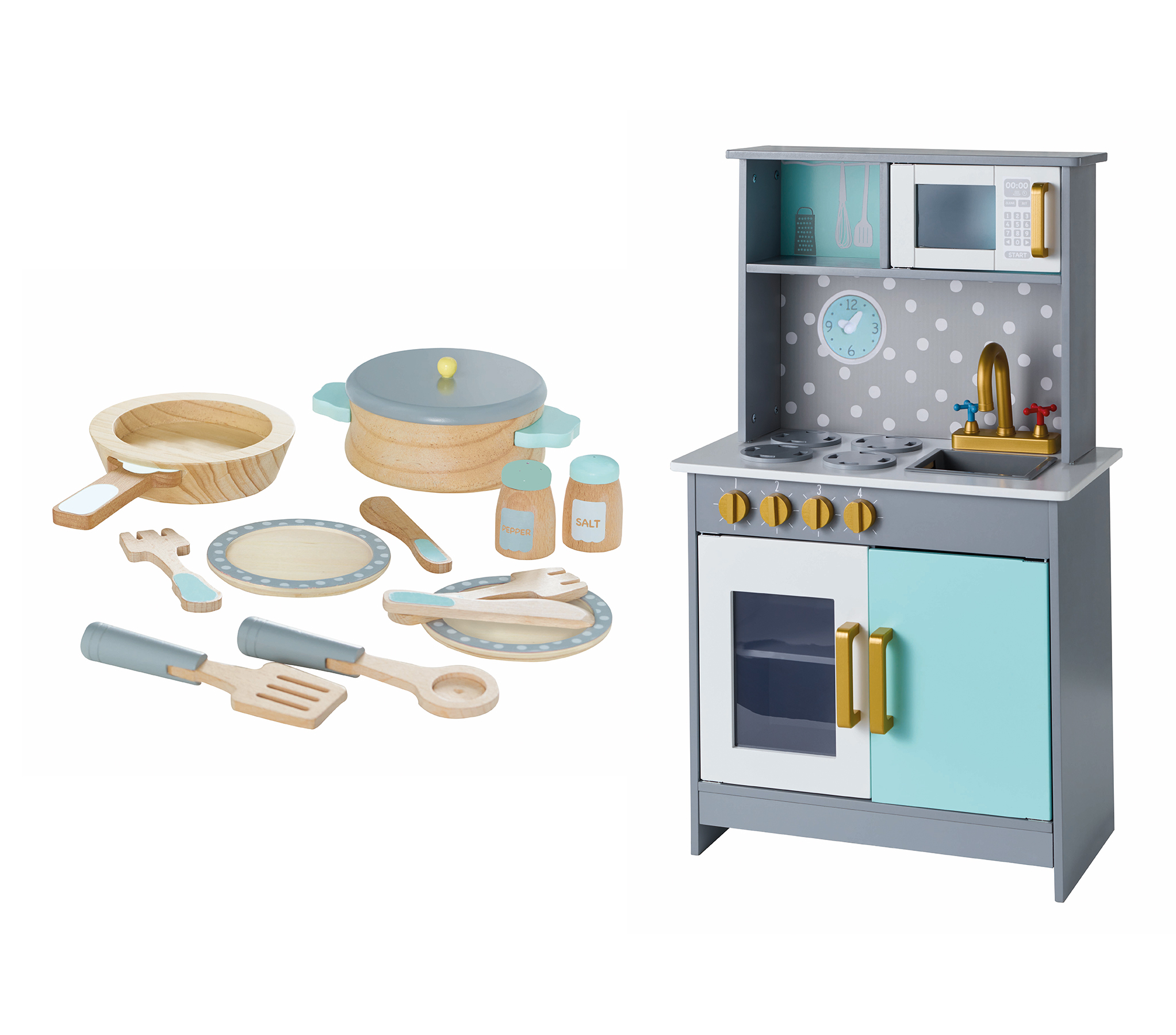 Wooden Deluxe Kitchen And Cooking Set Toys Character George