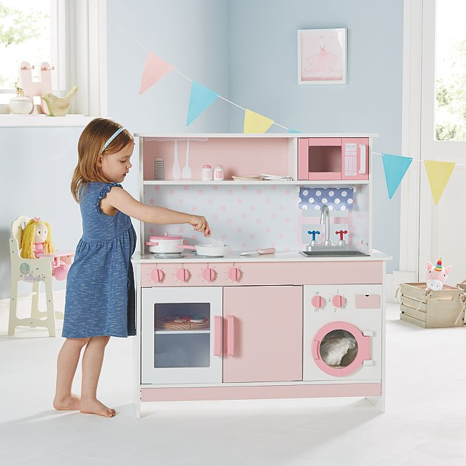 Pink Wooden Kitchen and Cooking Set  b11d4061d