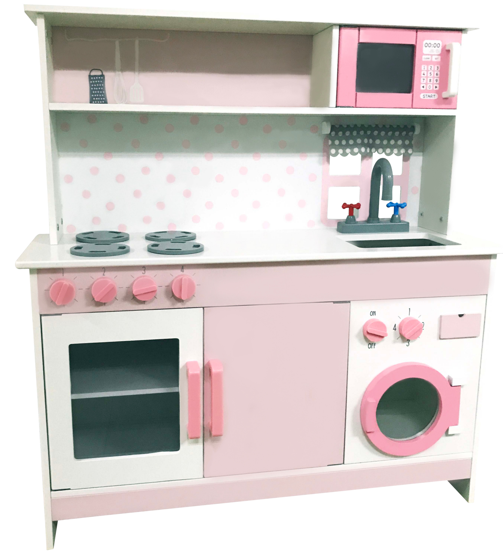Pink Wooden Kitchen And Cooking Set Toys Character George