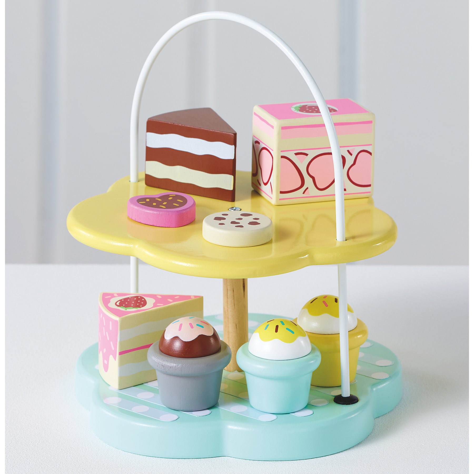 Wooden Play Cake Stand And Cakes