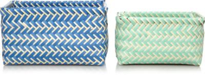 Modern Organic Woven Plastic Storage Baskets   2 Pack