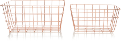 Genial Copper Wire Storage Baskets   2 Pack
