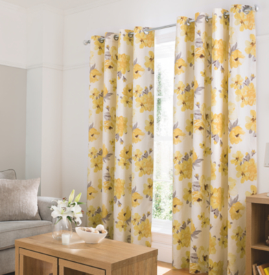 Delightful Watercolour Floral Curtains   Yellow