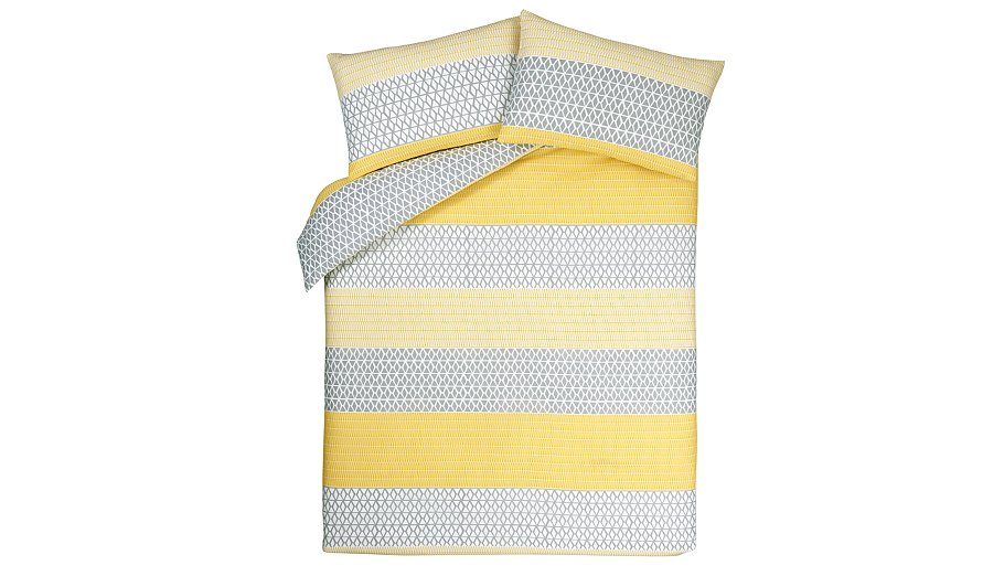 Geometric Yellow Amp Grey Stripe Duvet Cover Home Amp Garden