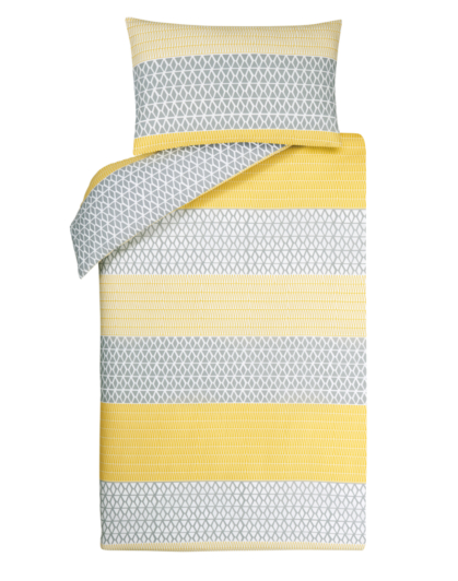 Geometric Yellow Amp Grey Stripe Duvet Cover Home Amp Garden