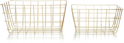 Etonnant Gold Wire Storage Baskets   2 Pack