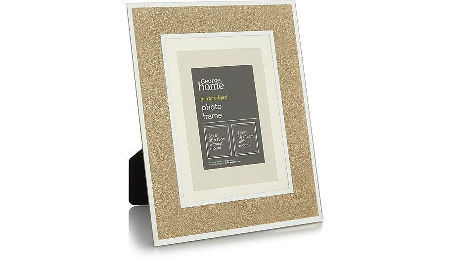 Gold Glitter Glass Frame 7x5 Inch | Home & Garden | George