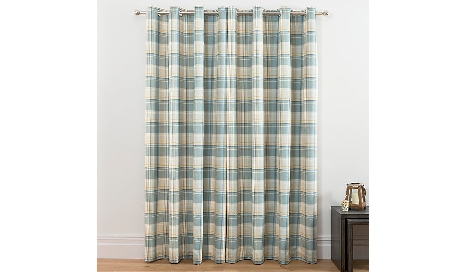 Check Woven Lined Curtains
