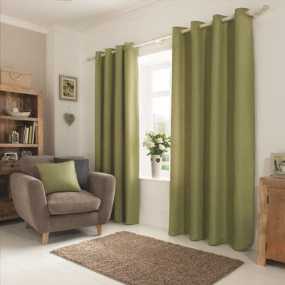 Green Textured Weave Lined Curtains Home George At Asda
