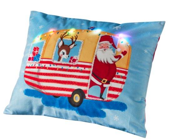 Light Up Santa Caravan Cushion