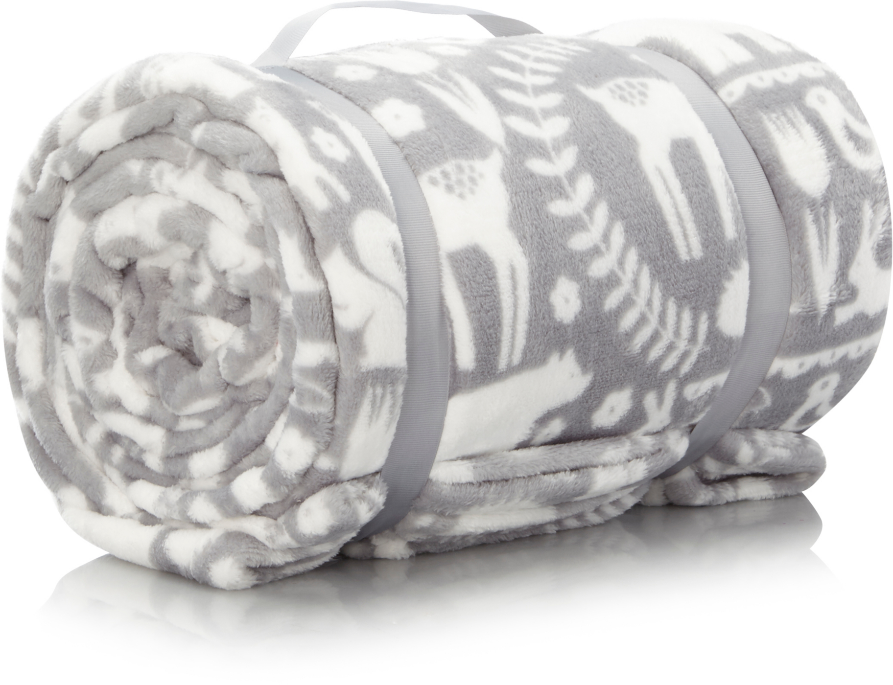 Supersoft Animal Scandi Blanket Grey
