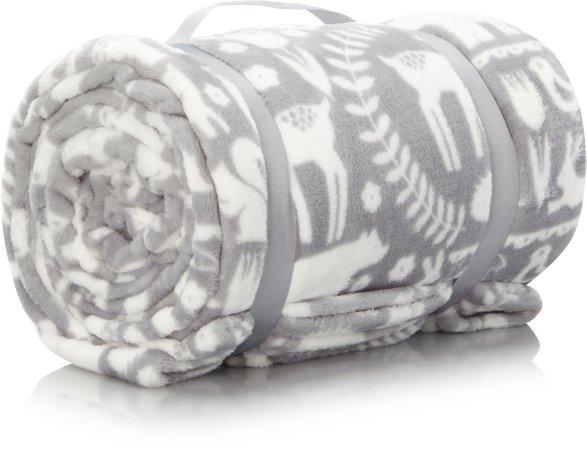 Supersoft Animal Scandi Blanket - Grey