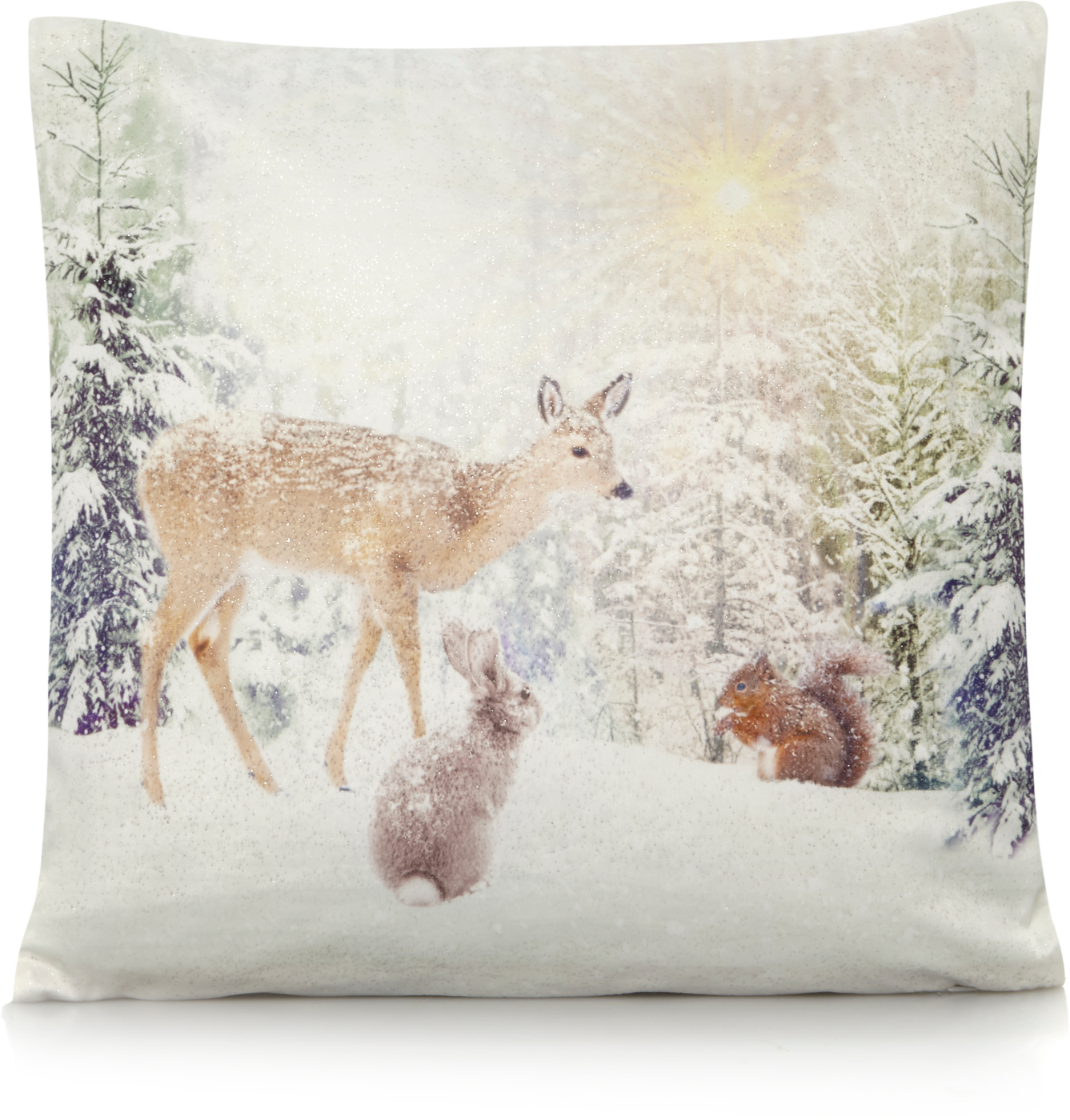 Deer and Rabbit Glitter Scene Cushion Cushions