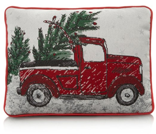 Tapestry Christmas Truck Cushion