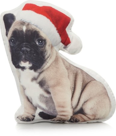 Festive French Bulldog Cushion