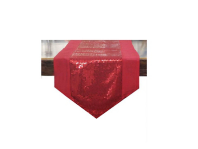 Beau Sequin Table Runner   Red