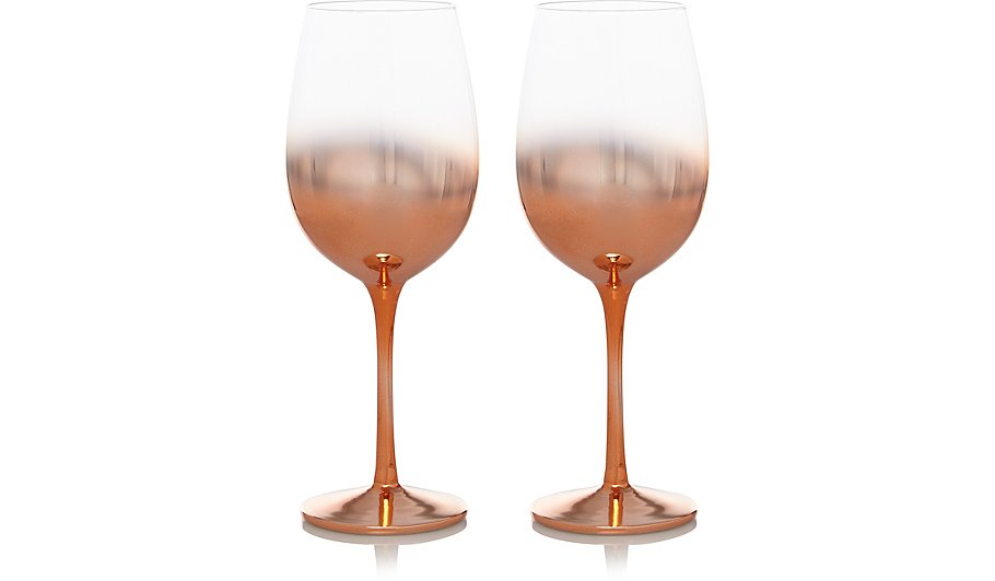 Copper Fade Effect Wine Gles 2 Pack