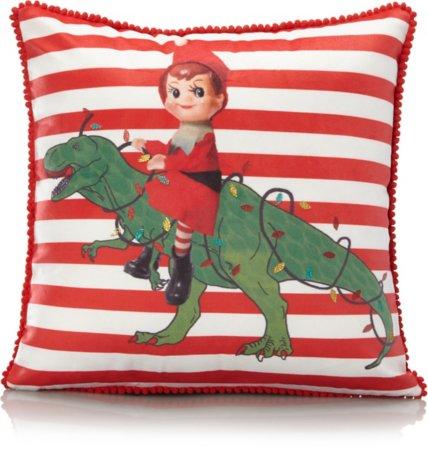 Christmas Elf Dinosaur Cushion
