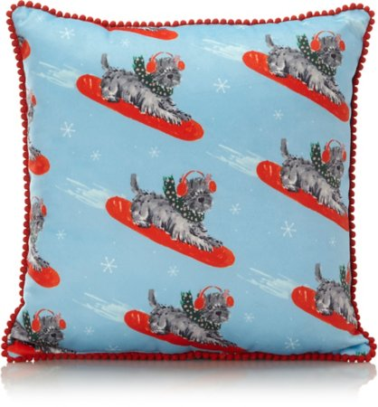 Christmas Scottie Dog Small Cushion