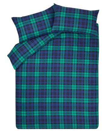 Brushed Cotton Tartan Bedding Range - Green