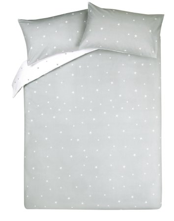 Brushed Cotton Reversible Star Print Duvet Cover