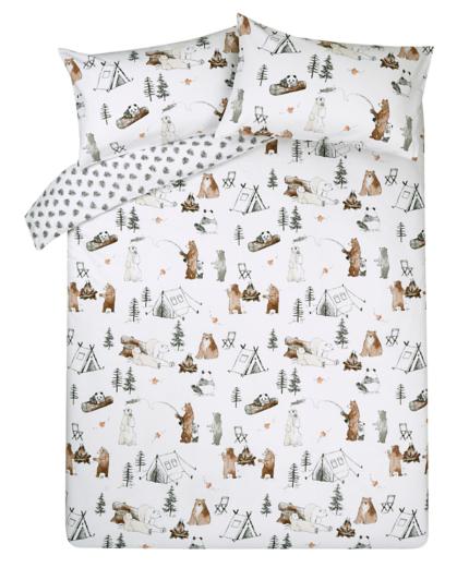 Brushed Cotton Reversible Camping Bears Print Duvet Set