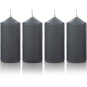 Grey Pillar Candles 4 Pack