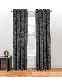 Textured Weave Lined Curtains Charcoal Home George At Asda