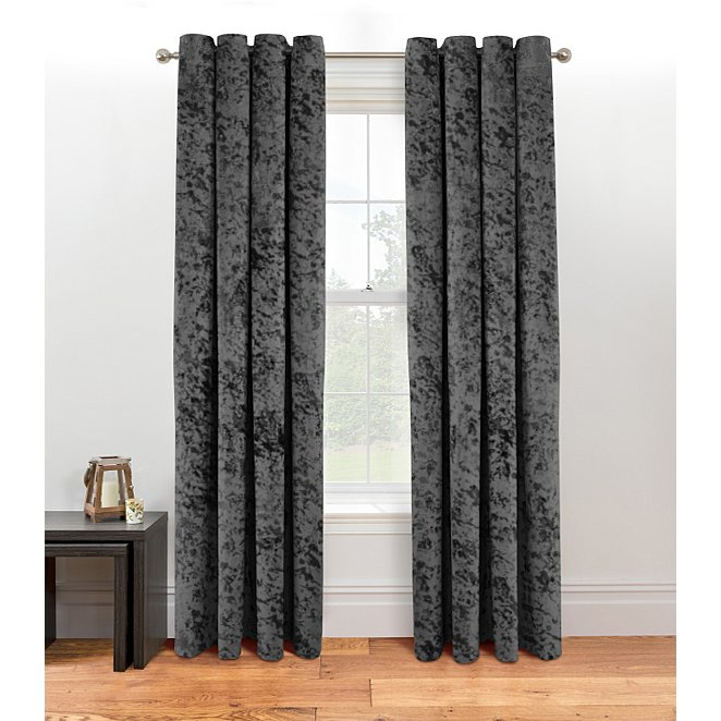 Charcoal Embossed Crushed Velvet Effect Eyelet Curtains Home George At Asda